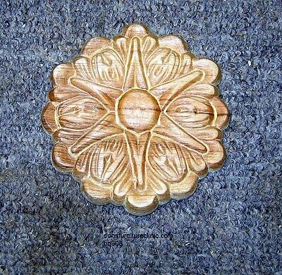 "Wood Embossed Applique Carving  4"" Dia  Hq308"