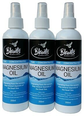 Magnesium Oil Spray 3 x 250ml - Pure & Concentrated from the Dead Sea - Natural