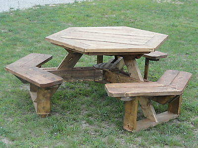 Octagon picnic table plans easy to do picclick for Octagon picnic table blueprints