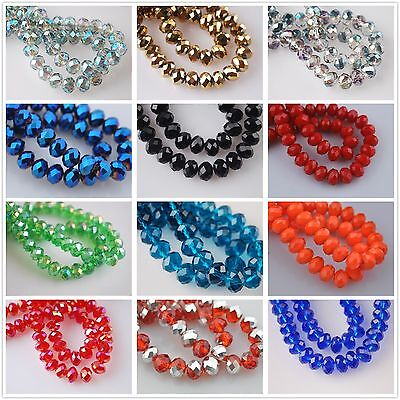 100pcs Faceted Glass Crystal Jewelry Design Diy Finding Rondelle Loose Beads 6mm