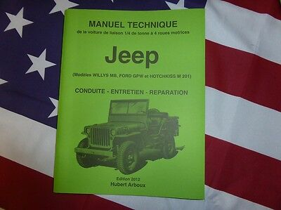 Revue manuel technique de la Jeep Willys MB Ford GPW Hotchkiss M 201 4X4 ARBOUX