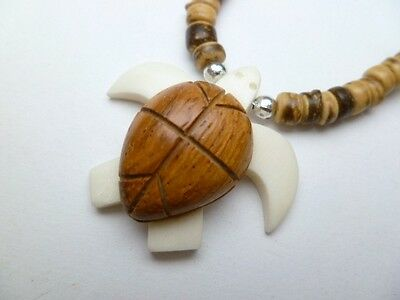 "Hawaiian Jewelry Wood Turtle Necklace Brown With Coco Beads 18"" Long # 30109"