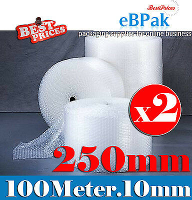 New 2 x 250mm x 100M Meter Bubble Cushioning Wrap Roll  - CLEAR 10mm Bubble