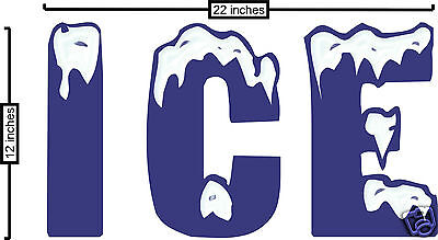 "Ice Decal 12"" x 22"" Concession Restaurant Food Store Market Contour Cut Letters"