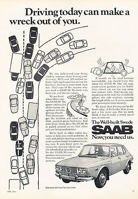 1972 Saab 99 - Wreck - Classic Vintage Advertisement Ad D49