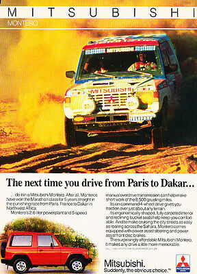 1986 Mitsubishi Montero - Paris - Classic Vintage Advertisement Ad D59