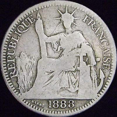 1888 VG French Indo-China Silver 10 Cents - KM# 2 - Free Shipping