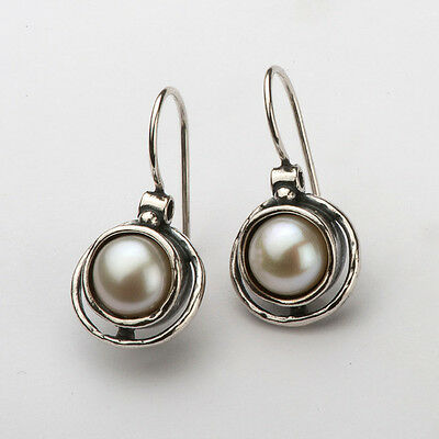 E00488SP SHABLOOL ISRAEL Didae Handcrafted FW Pearl Sterling Silver 925 Earrings