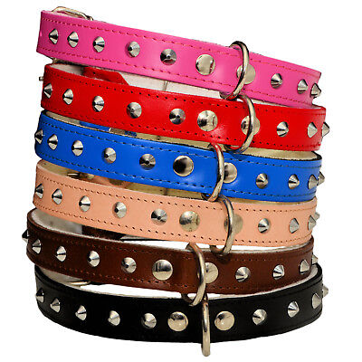 STUDDED Real LEATHER DOG Puppy COLLARS PINK BLUE BROWN BLACK NATURAL RED