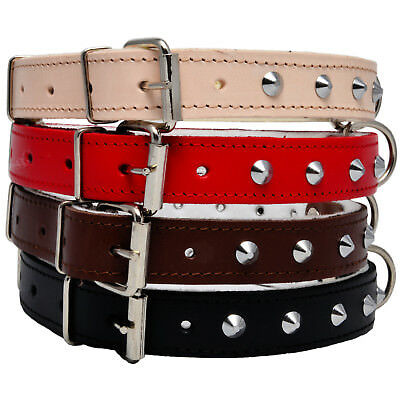 STUDDED Real LEATHER DOG PUPPY COLLAR BROWN BLACK NATURAL RED small medium large