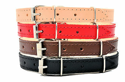 REAL LEATHER DOG PUPPY COLLARS felt lining BROWN BLACK NATURAL RED small large