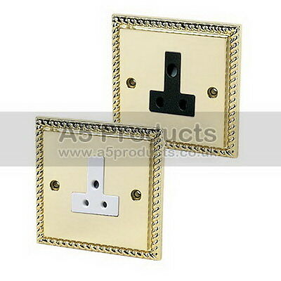 Round Pin 3 Pin Single Socket 1 Gang 5A or 2A in Polished Brass GEORGIAN Style