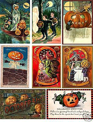 Vintage Halloween Postcard Collage Sheet           A33