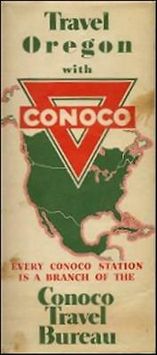 1940 CONOCO OIL Gas Station Road Map OREGON Columbia River Highway Crater Lake