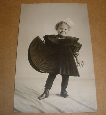 Photo Post card Little girl in fancy dress nice condition 1908
