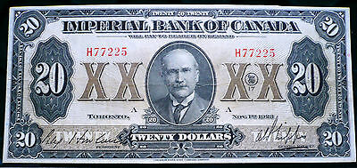 Imperial Bank of Canada $20  1923 Issue  Outstanding Condition