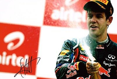 Sebastian Vettel HAND SIGNED F1 Podium 12x8 Photo Red Bull AFTAL Autograph COA