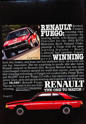 1984 Renault Fuego - Winning - Classic Vintage Advertisement Ad D61
