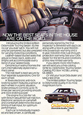 1987 Oldsmobile Touring Sedan - Classic Vintage Advertisement Ad D71