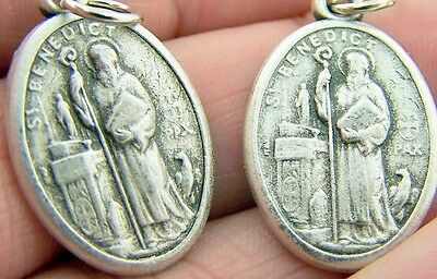 MRT Lot Of 2 St Benedict Silver Gild Pendant Gift Saint Protection From Evil