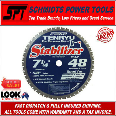 "TENRYU 48T 7-1/4"" 185mm METAL CUTTING CIRCULAR SAW BLADE STEEL PRO PRF-18548BWK"