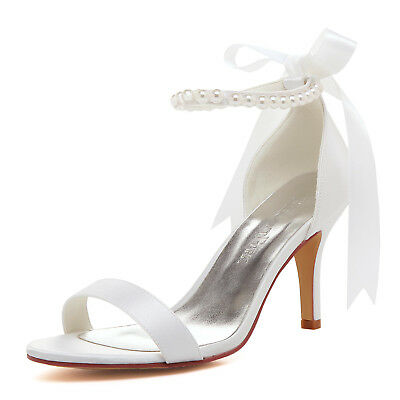 EP11053 Ivory Open Toe Shoes High Heel Pearls Ribbon Satin Wedding Party Sandals