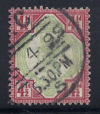 GB SG206 QV 4½d GREEN & CARMINE FINE USED 1892 JUBILEE ISSUE