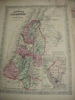 Palestine Genuine Antique Map Johnson's 1868 Family Atlas Original