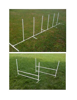 Dog Agility Equipment Beginner Set: 6 Weave Poles + 2 Jumps