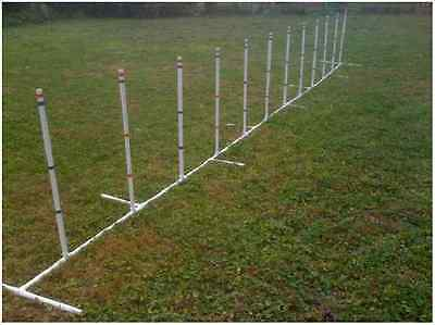 Dog Agility Equipment 12 Weave Poles Adjustable Angle and Spacing  FREE US SHIP