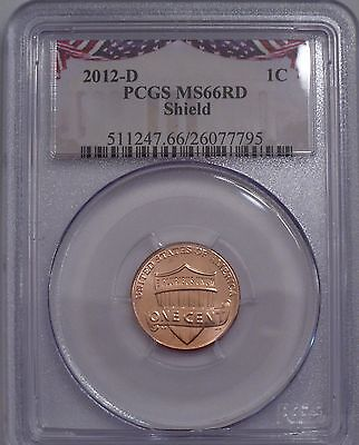 2012-D PCGS MS-66 RD RED gem Lincoln Shield cent rare bunting insert