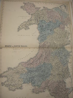 North & South Wales, Large Genuine Antique Map, Black's 1856 World Atlas