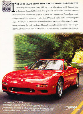 Classic Vintage Advertisement Ad H08 white 1991 Mazda Rx7 Turbo