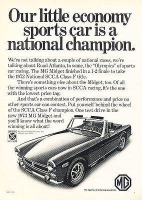 1973 MG Midget - Champion - Classic Vintage Advertisement Ad D73