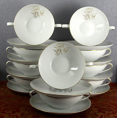 ESTATE VINTAGE KPM GERMANY CHINA DINNERWARE GOLDROSE 10 CREAM SOUPS & 10 LINERS