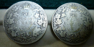 """Canada 1920  Small """"0""""  AND Large """"0""""  50 Cents Two  Silver coins"""