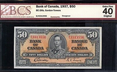 1937 Bank of Canada $50 Gordon Towers Changeover PREFIX