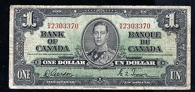 H/A 1937 Bank of Canada $1 Gordon Towers Narrow Panel