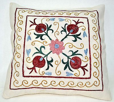 P8 NEW Pillow Case/Sham Hand Made Silk Embroidered Floral Antique/Vintage Suzani