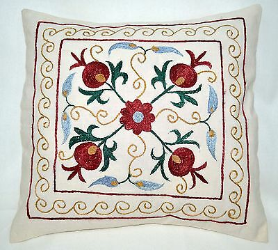 P10 NEW Pillowcase/Sham Hand Made Silk Embroidered Floral Antique/Vintage Suzani