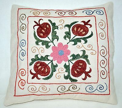 P9 NEW Pillowcase/Sham Hand Made Silk Embroidered Floral Antique/Vintage Suzani