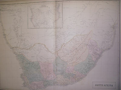 South Africa: Genuine Antique Map, Black's 1856 World Atlas, Large