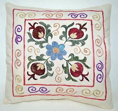 P14 NEW Pillowcase/Sham Hand Made Silk Embroidered Floral Antique/Vintage Suzani
