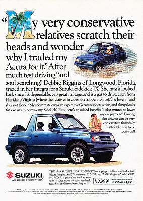 1993 Suzuki Sidekick JX - Palm - Classic Vintage Advertisement Ad D79