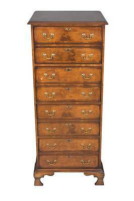 English Antique Style Burl Walnut Four-Drawer Vertical File Cabinet