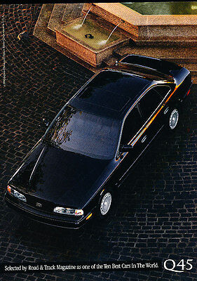 1991 Infiniti Q45 - 2-sided sedan - Classic Vintage Advertisement Ad H06