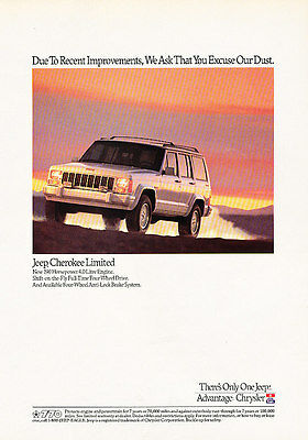 1991 Jeep Cherokee Limited - white - Classic Vintage Advertisement Ad H07