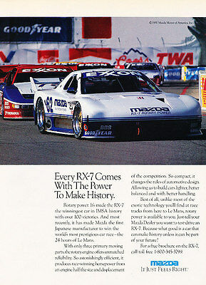 1991 Mazda Rx7 IMSA History Racer - Classic Vintage Advertisement Ad H08