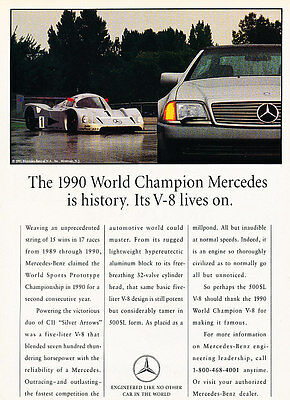 1991 Mercedes Benz 500SL with 1990 Race Car Classic Vintage Advertisement Ad H07