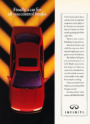 1992 Infiniti G20 - red bird-view - Classic Vintage Advertisement Ad H09